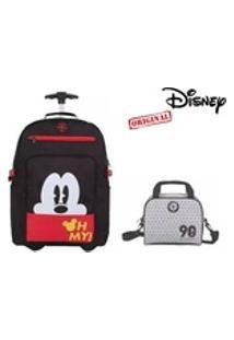 Kit Mickey Mouse 90 Anos Mochilete + Bolsa Térmica 51912 51927