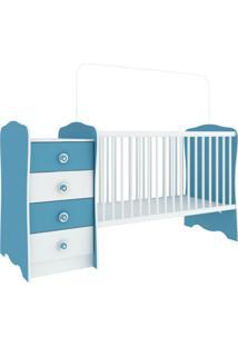 Berço Com Criado-Mudo Baby Estrela Unissex Branco E Azul