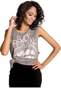 Regata Rock Festival Colcci - Feminino-Cinza