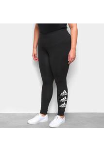 Calça Legging Plus Size Adidas Strackight In Feminina - Feminino-Preto