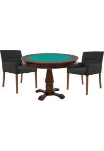 Mesa De Jogos Carteado Victoria Redonda Tampo Reversível Imbuia Com 2 Cadeiras Vicenza Preto Fosco - Gran Belo