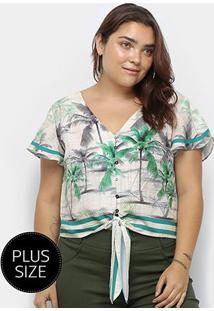Blusa Heli Tropical Plus Size Amarração Manga Curta Feminina - Feminino-Bege