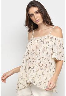 Blusa Lily Fashion Plissada Floral Open Shoulder Feminina - Feminino-Bege