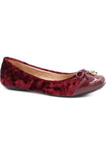 Sapatilha Zariff Shoes Matelassê Verniz Feminina - Feminino-Vermelho