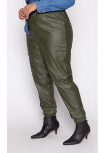 Calça Almaria Plus Size Kayla Valença Couro Verde Militar