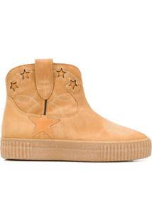 Golden Goose Ankle Boot Com Patch - Marrom