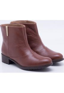 Ankle Boot Couro Pinha