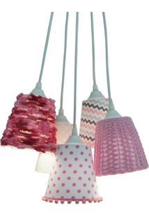 Lustre Pendente Quarto De Bebê Crie Casa Pompom E Crochê Rosa