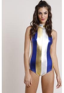 Body Feminino Carnaval Mindset Halter Neck Metalizado Listrado Com Recortes Gola Alta Multicor