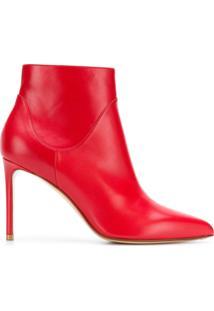 Francesco Russo Ankle Boot De Couro - Vermelho