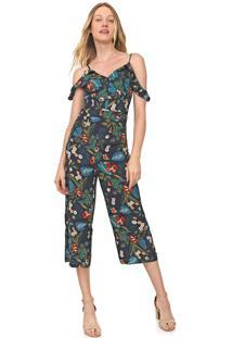 Macacão Ciganinha Lily Fashion Pantacourt Floral Azul-Marinho/Verde