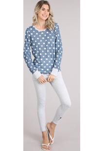 Pijama Feminino Ursinhos E Corações Manga Longa Azul Escuro