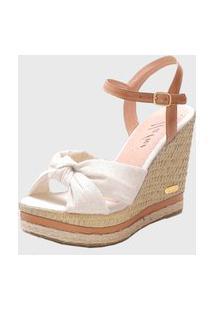 Sandália Sb Shoes Anabela Ref.3250 Off White / Whisky