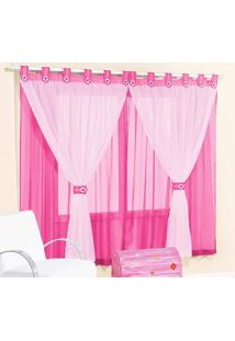 Cortina Juvenil Menina 2 Metros Pink E Rosa Presilha Flor Com 1 Peça