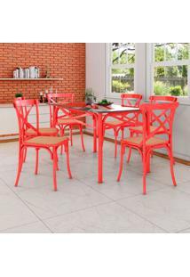 Conjunto De Mesa De Jantar Com 6 Cadeiras E Tampo De Vidro Katrina Vermelho