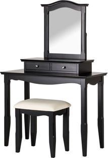 Penteadeira Giselle Com Banco E Espelho 2 Gavetas Preta