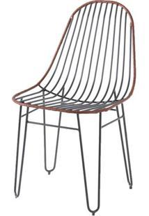 Cadeira Invisi Trama Couro Natural Caramelo Base Preta 45 Cm (Larg) - 41426 - Sun House