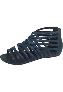 Rasteira S2 Shoes Conforto Couro Marinho