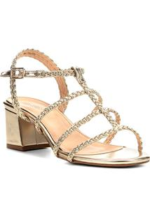 Sandália Shoestock Salto Bloco Tranças Feminina - Feminino-Dourado