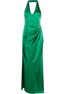 Alice+Olivia Vestido De Festa Em Cetim Com Franzido - Verde