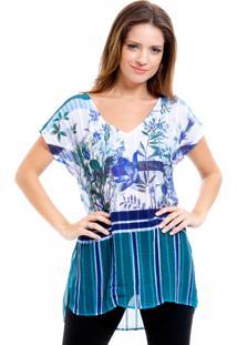 Blusa 101 Resort Wear Saida De Praia Crepe Estampada Decote V Floral Listrado Azul