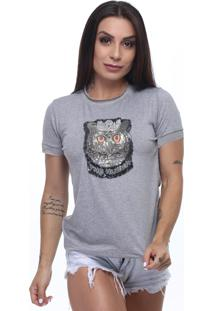 T-Shirt Tee Fashion Patch Coruja Cinza