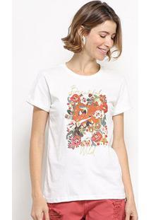 Camiseta Hapuna Baby Look Beautiful Wild Feminina - Feminino-Off White