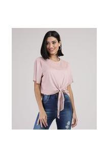 Blusa Feminina Em Suede Com Nó Manga Curta Decote Redondo Rosa Claro