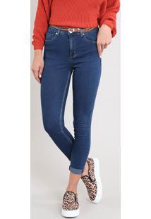 Calça Jeans Feminina Cropped Com Cinto Azul Escuro