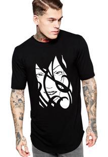 Camiseta Long Line Criativa Urbana Oversized Face Mulher Sexy Tribal Preta