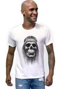 Camiseta Joss Caveira Bandana Masculina - Masculino-Branco