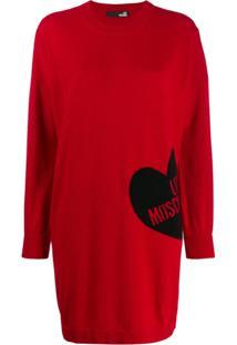 Love Moschino Vestido De Tricô Oversized Com Logo - Vermelho