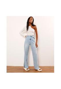 Calça Wide Pantalona Jeans Marmorizada Com Fenda Cintura Baixa Azul Claro