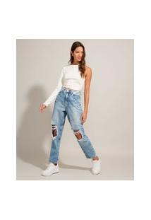 Calça Mom Jeans Destroyed Cintura Super Alta Azul Claro