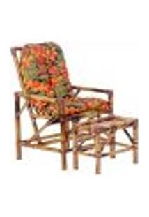 Conjunto Mesa E Cadeira De Bambu Cancun Para Área Edicula Jardim G31