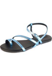 Sandalia Rasteira Mercedita Shoes Tiras Metalizadas Azul Claro