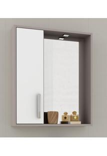 Espelheira Para Banheiro Balcony Gold Com Armário Espelho 3Mm E Luminária Branco