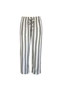 Calça Pau A Pique Pantalona Listrada Cinza / Off White