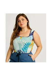 Body Plus Size Feminino Estampa Tropical Sem Manga