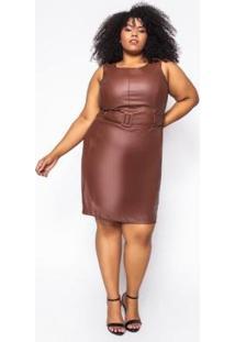 Vestido Curto Almaria Plus Size Sinap Couro Feminino - Feminino-Marrom