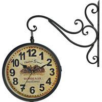 c8dbecb0e5d Relógio De Parede Retrô Vintage Estação Ferroviária Decoração Dupla Face  Bordeaux 1971 R3P Import