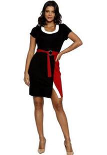 Vestido Energia Fashion Plus Size Manga Curta - Feminino-Preto+Vermelho