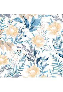 Papel De Parede Flores Azul E Bege (950X52)