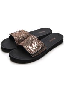 Sandã¡Lia Michael Kors Mk Slide Bronze - Bronze - Feminino - Dafiti