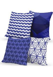 Kit 4 Capas De Almofadas Decorativas Own Geometric Blue 45X45 - Somente Capa