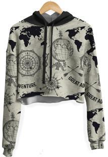Blusa Cropped Moletom Feminina Expansão Marítima Md01 - Kanui