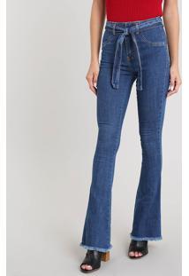 88529f23e ... Calça Jeans Feminina Sawary Flare Com Barra Desfiada E Cinto Azul Médio