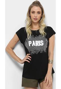 Camiseta Facinelli Paris Pelúcia Feminina - Feminino-Preto