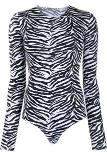 Mm6 Maison Margiela Zebra-Print Bodysuit - Preto