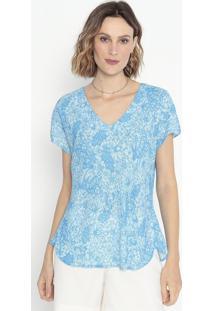 Blusa Floral Com Recortes - Azul - Cotton Colors Extcotton Colors Extra